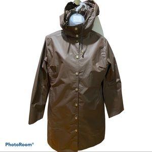 Isle Jacobsen Brown Hooded Raincoat Size XS